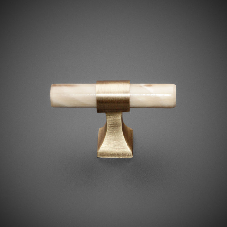 "245CK041-AB Horn knob 2"" antique brass. Available in additional finishes."