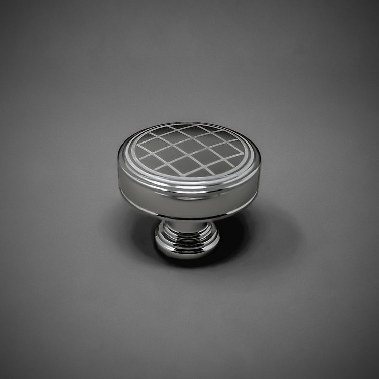 "245CK100-PC Cross hatch knob 1-1/4"" polished chrome. Additional sizes and finishes available."