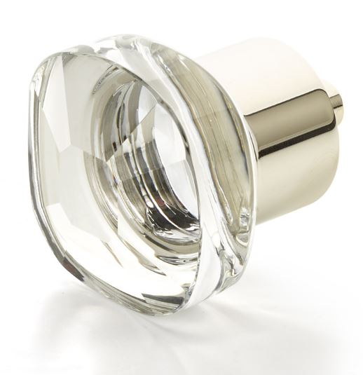 """19561-PN City Lights, Soft Square Glass Knob, Polished Nickel, 1-1/4"""" dia  other finishes available"""
