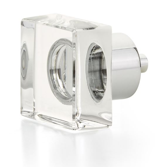 """19557-26 City Lights, Square Glass knob, Polished Chrome, 1-1/4"""" dia  other finishes available"""