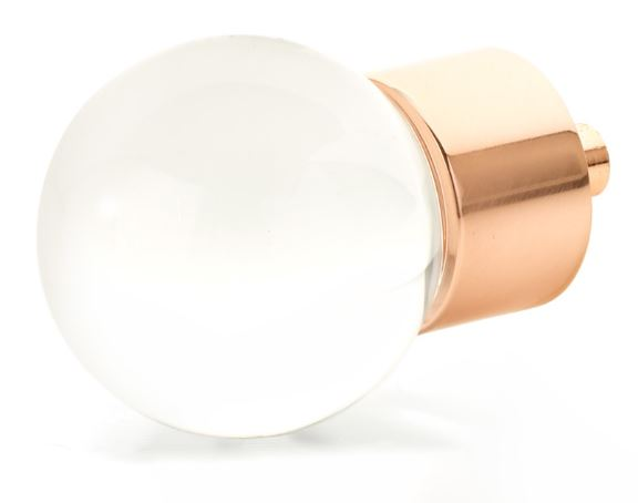 """19559-PRG City Lights, Globe Glass Knob, Polished Rose Gold, 1-3/8"""" dia  other finishes available"""