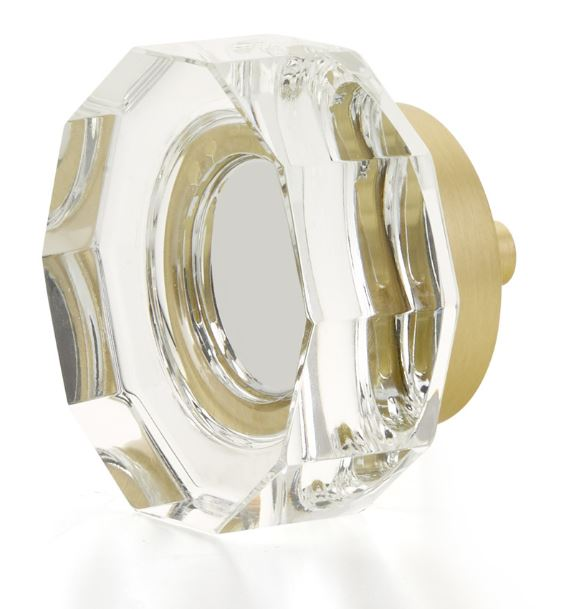 """19553-SB City Lights, Large Multi-Sided Glass Knob, Satin Brass, 1-3/4"""" dia other finishes available"""