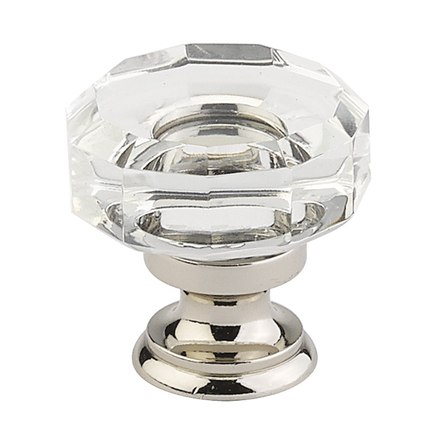 """12986571-US14 Lowell crystal 1-3/8""""polished nickel base. Additional finishes available"""