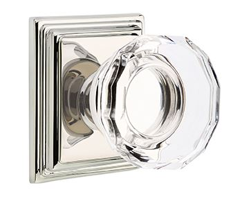 1298161-LW-US14 Lowell crystal knob Wilshire rose. Shown in polished nickel, many finishes available.