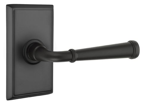 1298121.ME.US19 Merrimack lever rectangle rose. Shown in flat black, many other finishes available.
