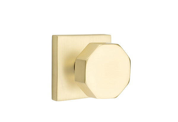 1295110.OCT.US4 Octagon knob square modern rose. Shown in satin brass, many other finishes available.