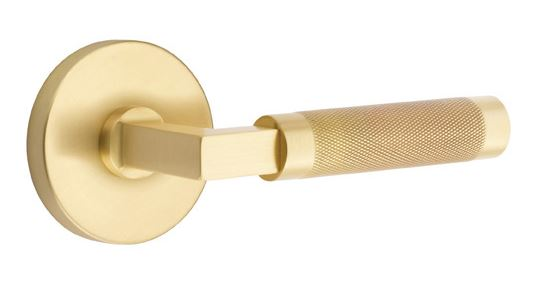 1295109.LS.KN.US4 Knurled lever disk rose. Shown in satin brass, many  finishes available.