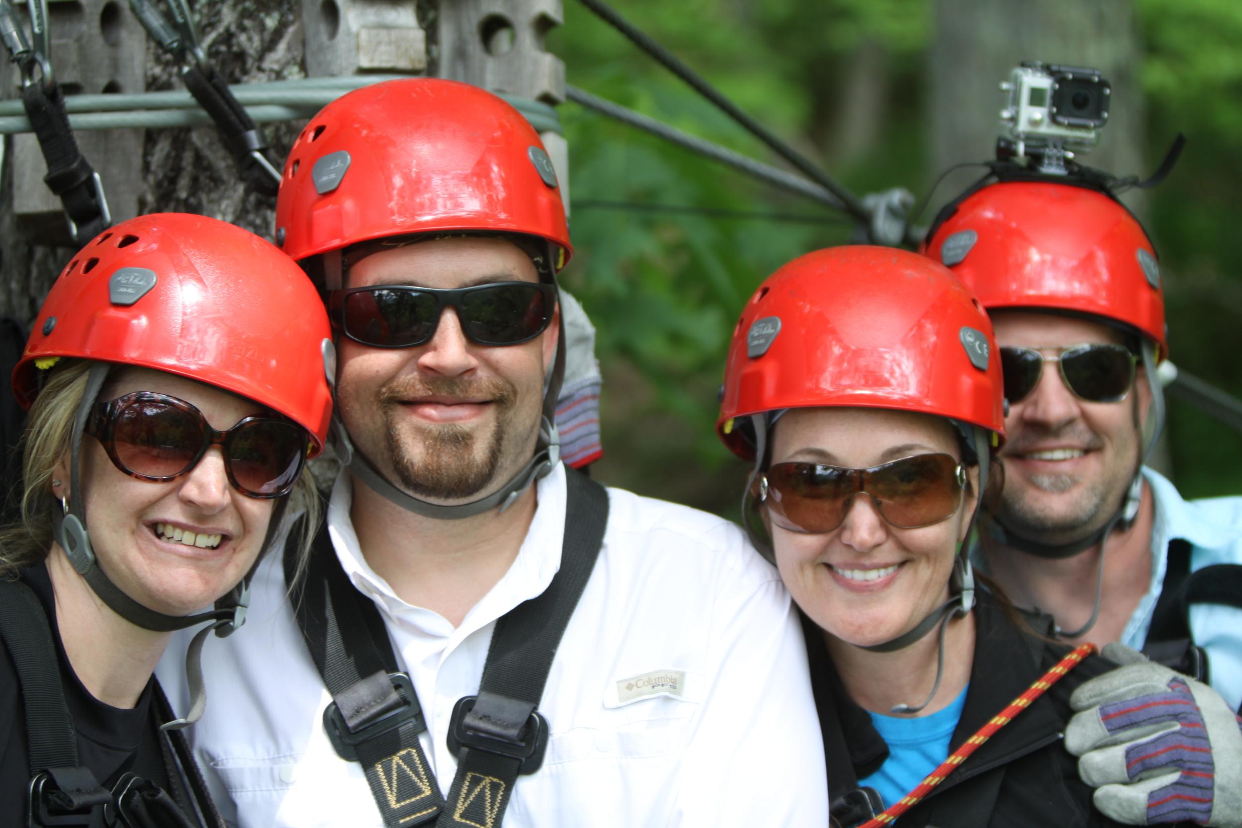 The Crew zip lining at Navitat