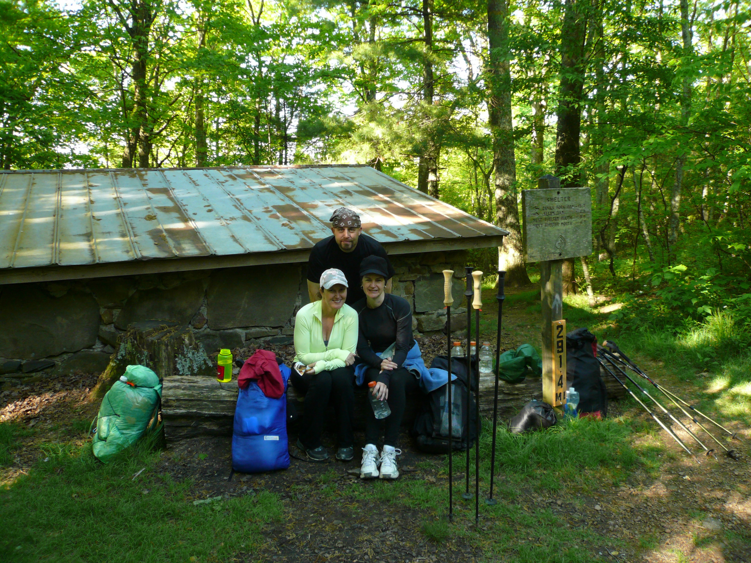 Mark, Shannon, & Joy at Little Laurel Shelter on the Appalachian Trail