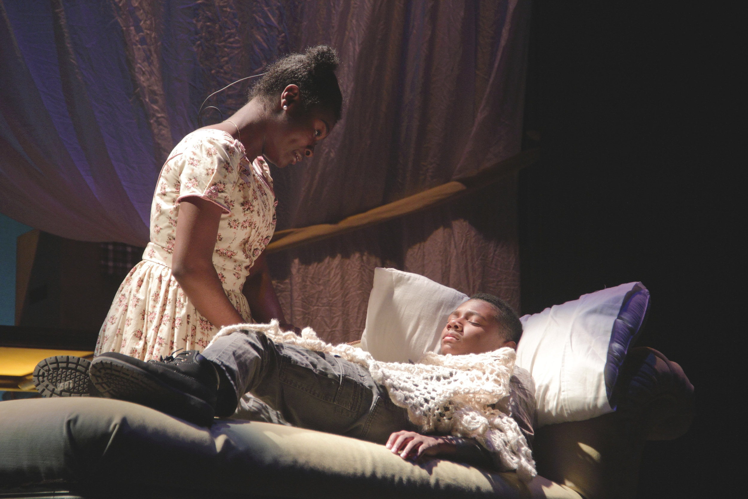 Asia Bruce as Rose and David Hopkins as Oliver Twist in Virginia Stage Company's Oliver Twist.jpg
