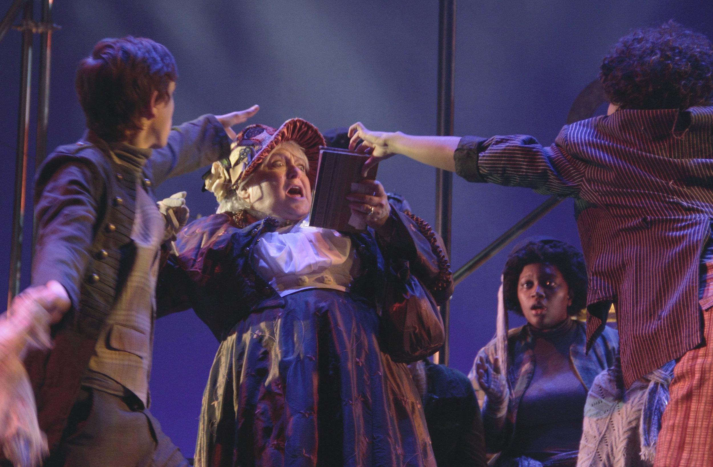 Sean Hynes as Charley, Debrah Moran as Mrs. Brownlow, Mikael Gemeda-Breka as the Artful Dodger in Virginia Stage Company's Oliver Twist .jpg