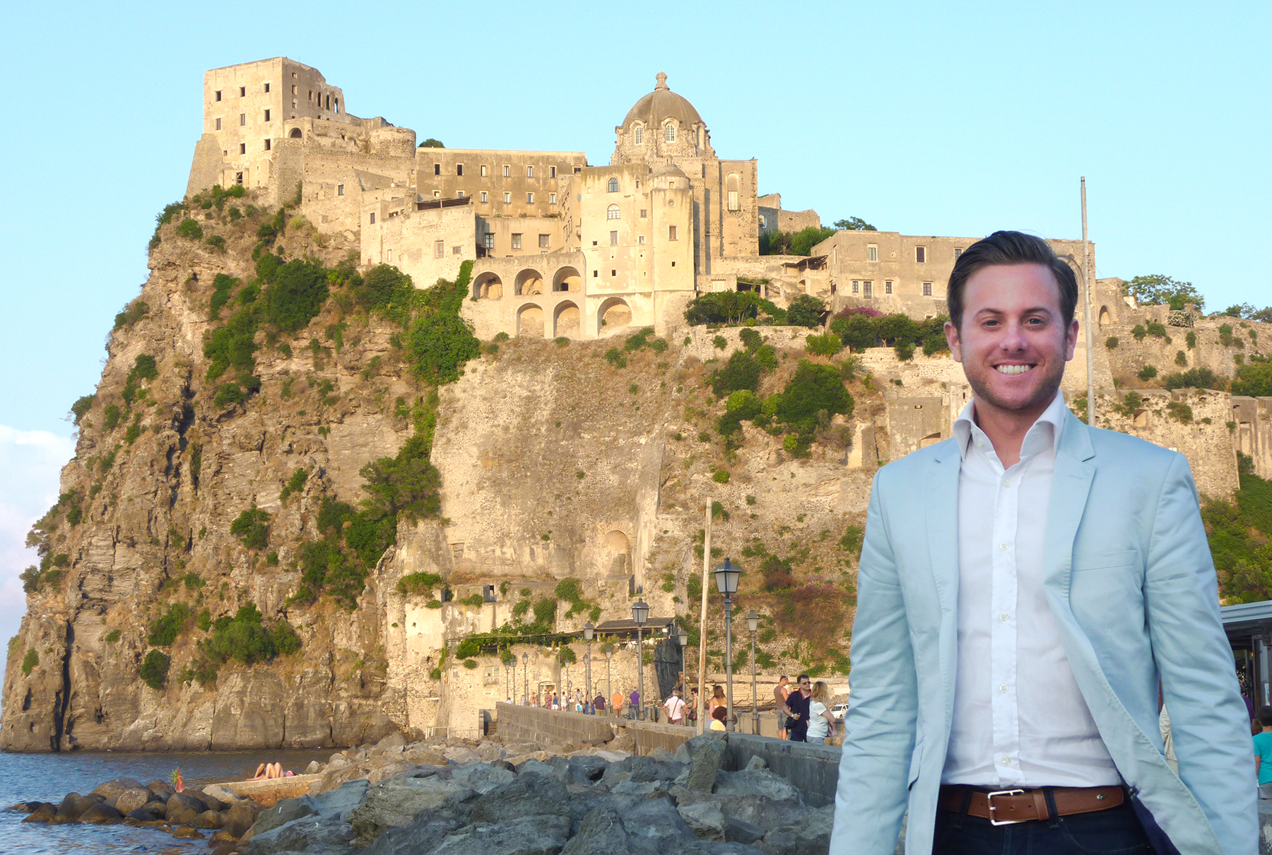 Matt in front of the stunning Castello Aragonese, in Ischia, Italy, where he later performed in concert