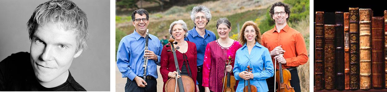 Composer Mika Pelo (photo: Peter Knutson), Jerome Simas, Tanya Tomkins, Eric Zivian, Anna Presler, Phyllis Kamrin, Kurt Rohde (photo: Jordan Murphy)