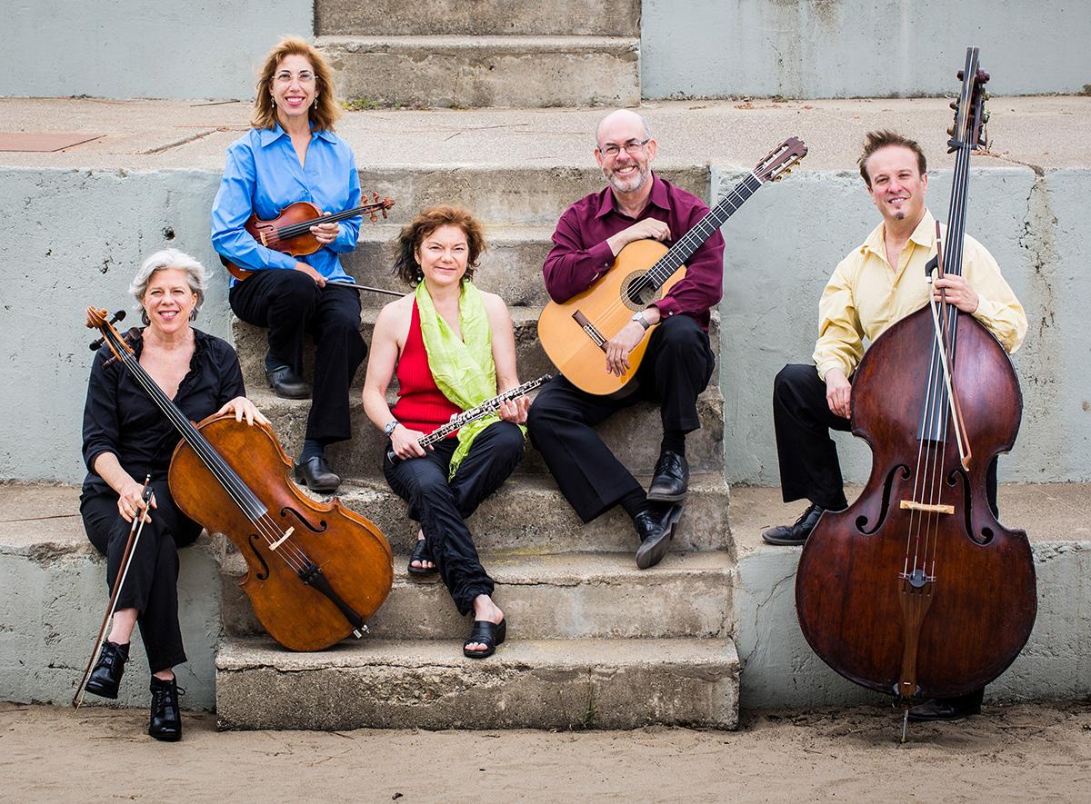 left to right: Tanya Tomkins (cello), Phyllis Kamrin (violin/viola), Andrea Plesnarski (oboe), Michael Goldberg (guitar), Michel Taddei (bass). photo by Jordan Murphy.