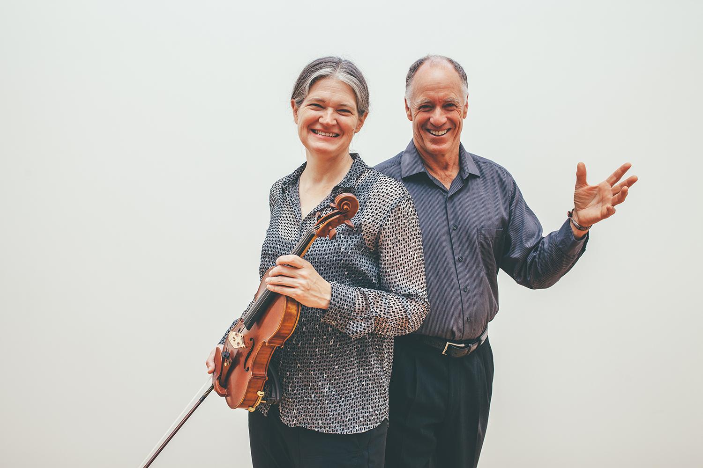 Anna Presler, Left Coast artistic director with Robert Geary, Volti artistic director. Photo: Vivian Sachs