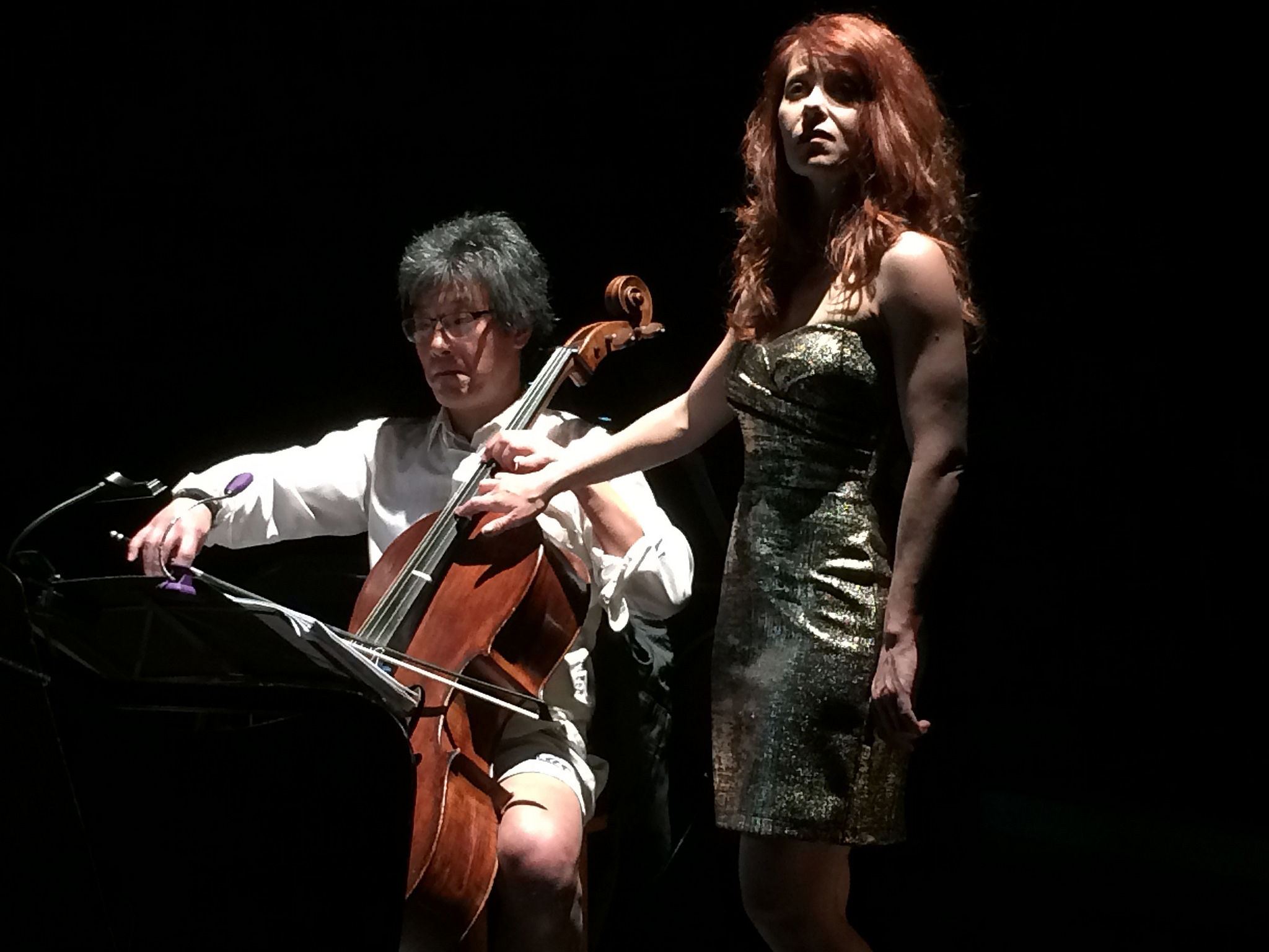 Leighton Fong (cello), Nikki Einfeld (soprano) in  Death with Interruptions , 2016