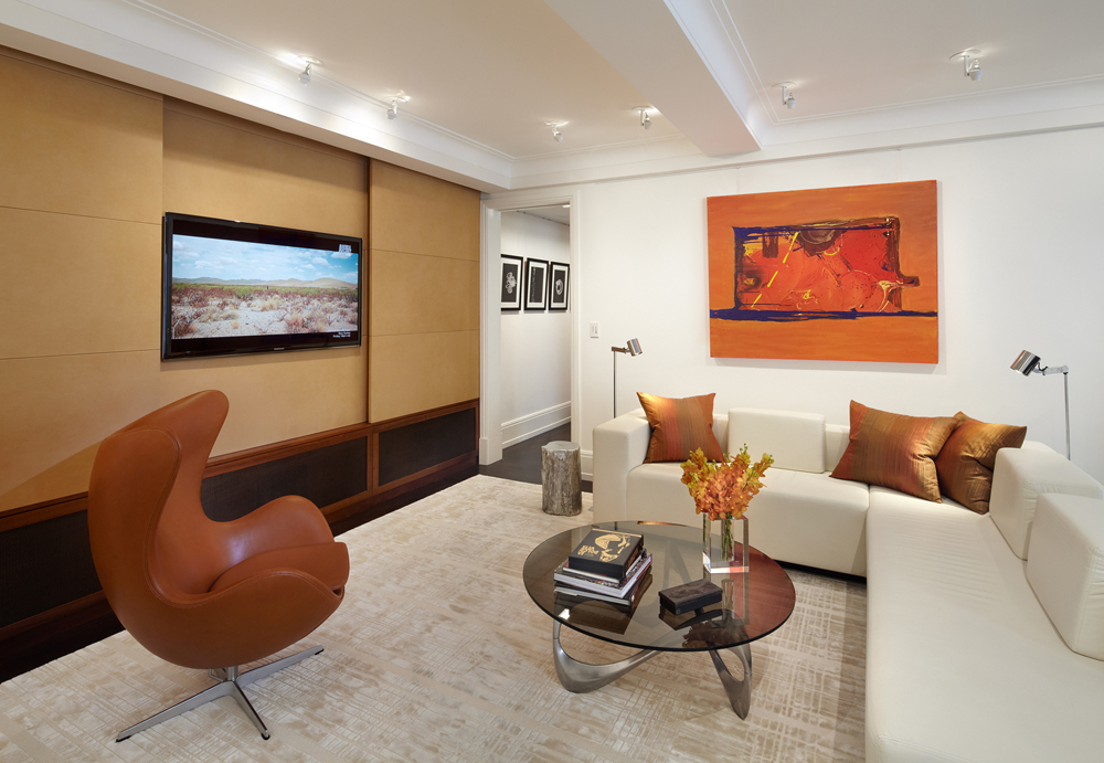 FAMILY ROOM WITH TV PANELS OPEN