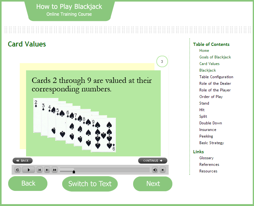 How to Play Blackjack Online Course - E-learning course created with Adobe Captivate to teach the game of Blackjack. Flash is required for the animation components.