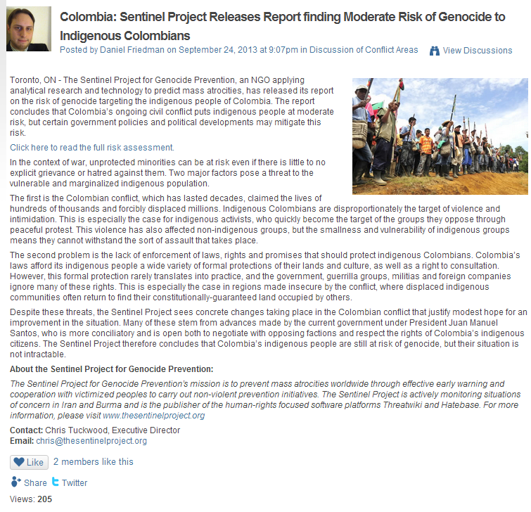 Press Release for the Sentinel Project Columbia Report -