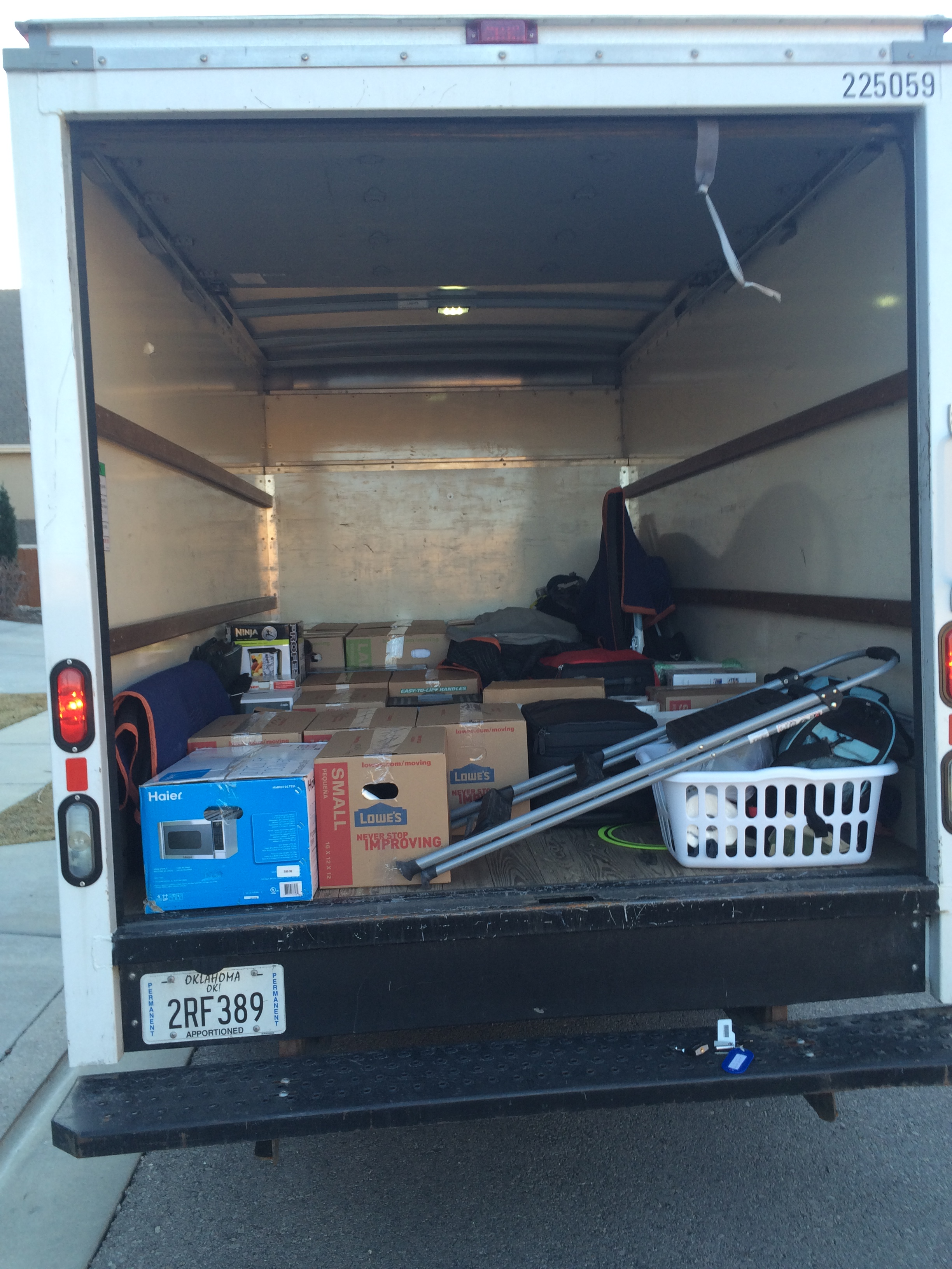 We packed up a 10' Budget rental truck... definitely did not need the whole thing. Or 80% of it.