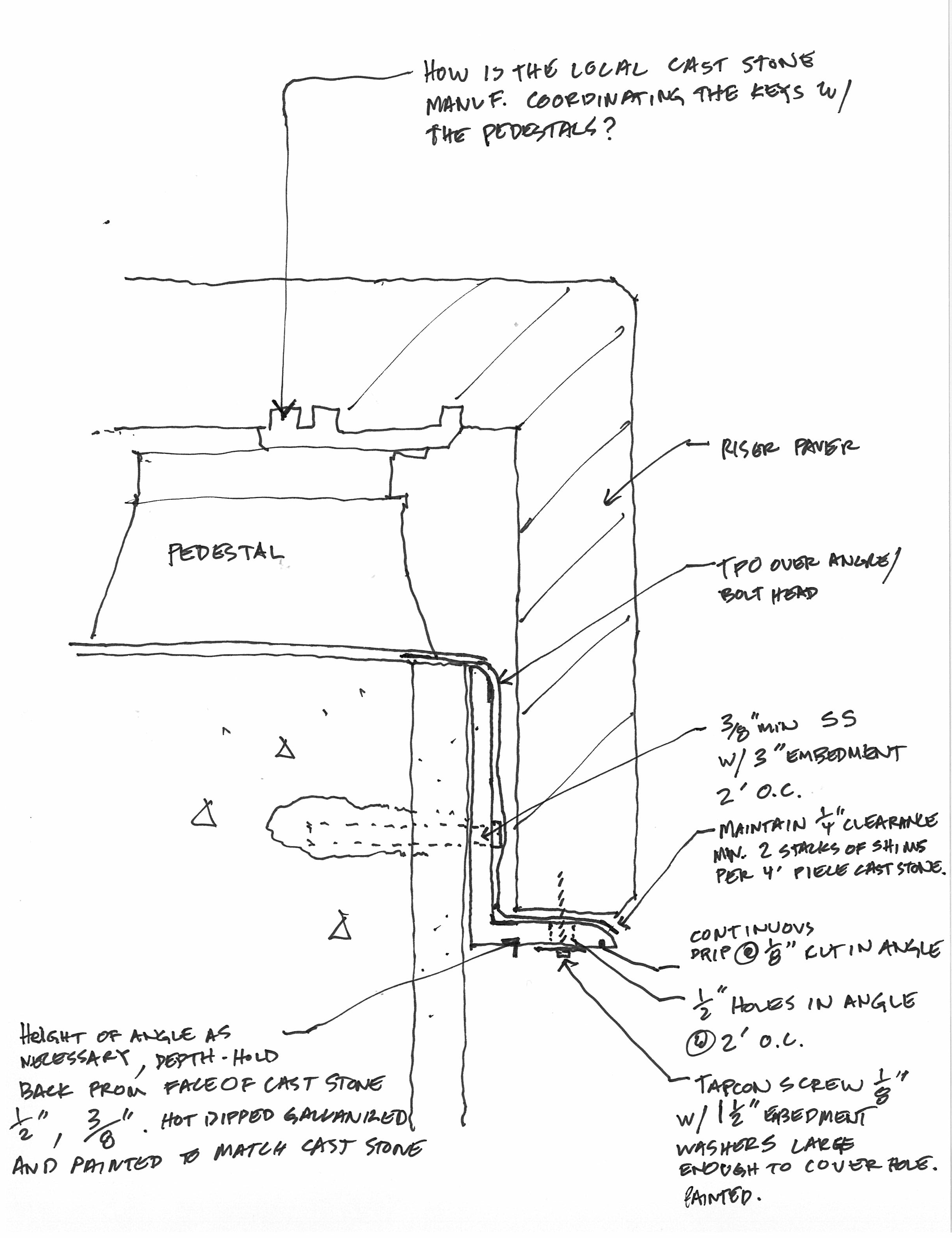 This is a typical sketch done during construction to clarify construction documents.