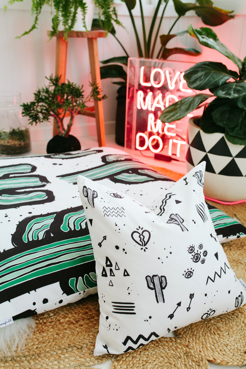- Lauren Webster collaborated with Australian design label Into The Fold on a collection of pieces for the home. The collaboration brought to life a range of bed linen, feature cushions and giant indoor/outdoor 'Floorie' cushions, all covered with Lauren Webster's signature style and graphic painted artworks.Designs from the Into the Fold x Lauren Webster range are available to purchase online from Into the Fold.