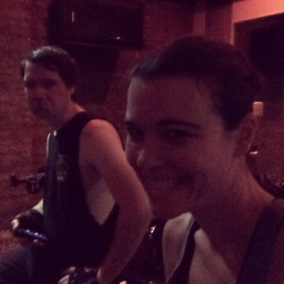 Having convinced my husband to join me for a 6am indoor cycling class. Note his joy.
