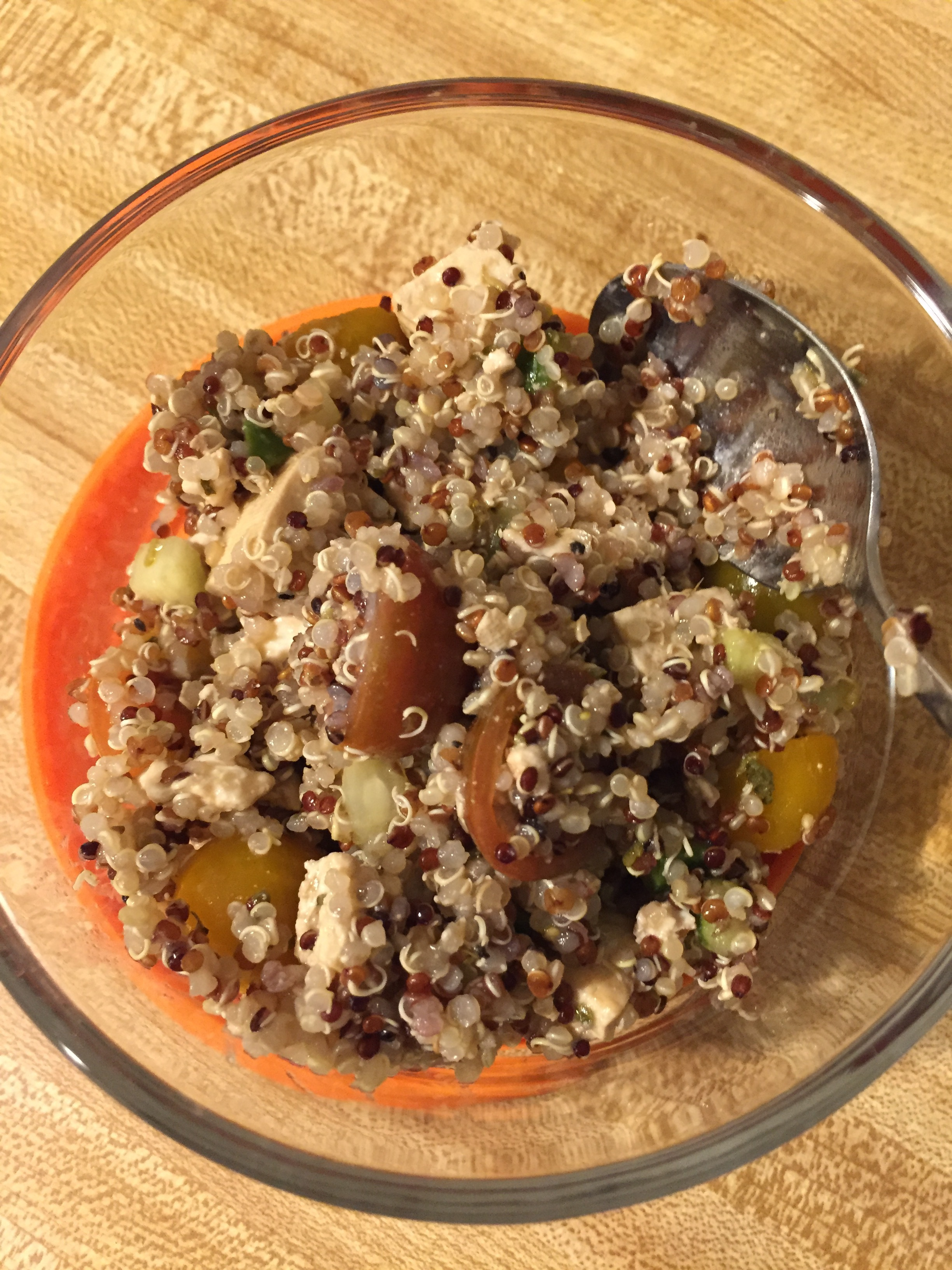 Quinoa salad for lunch every day! I love tofu, Dean is indifferent.