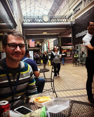 Dean during a lunch break in the Arcade. I stopped by to say hi.
