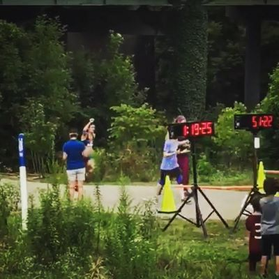 My friends grabbed a picture of me finishing the 15k.  It was a great day.