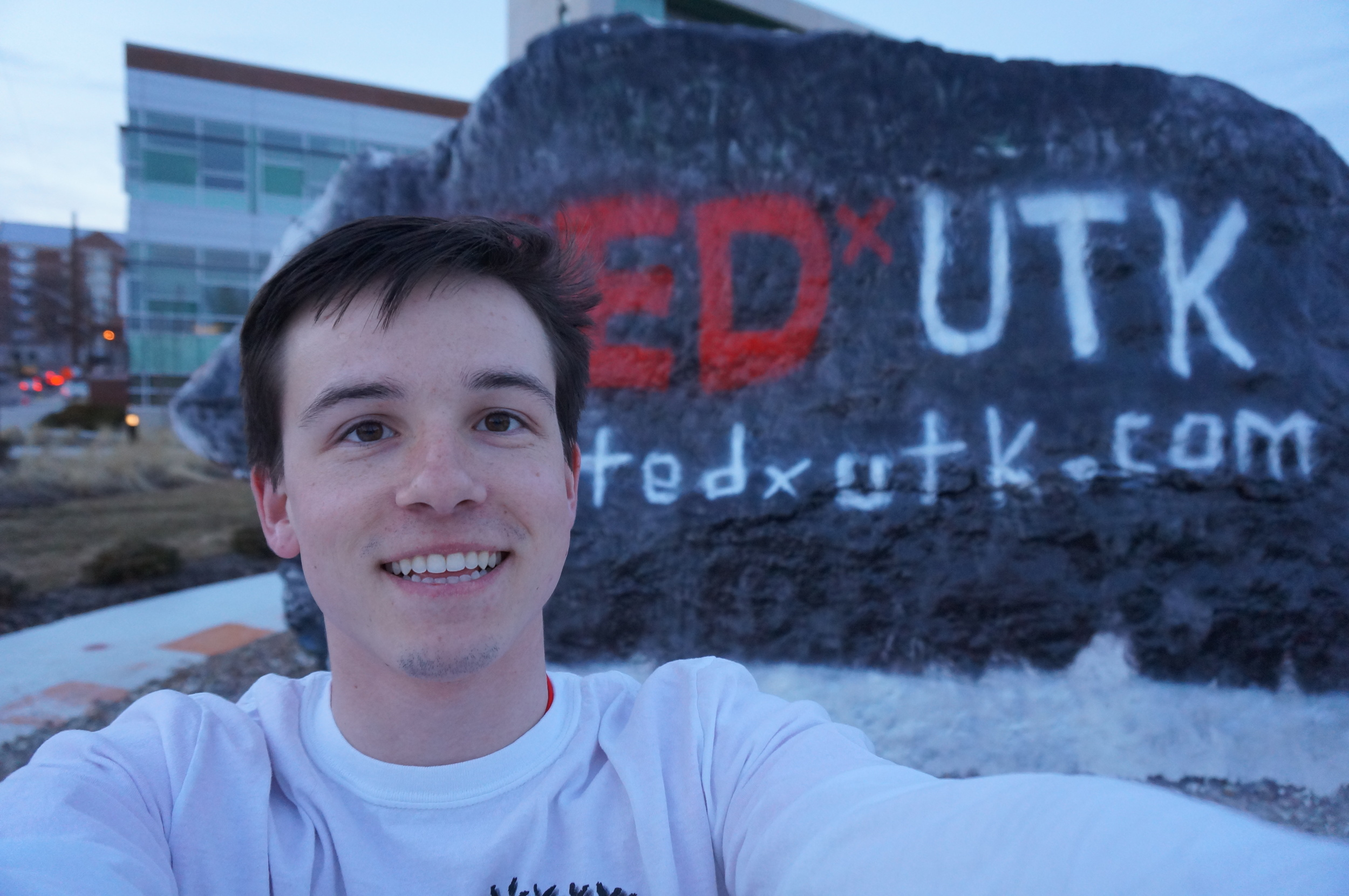 Painting the 'Rock' on campus for TEDx awareness.