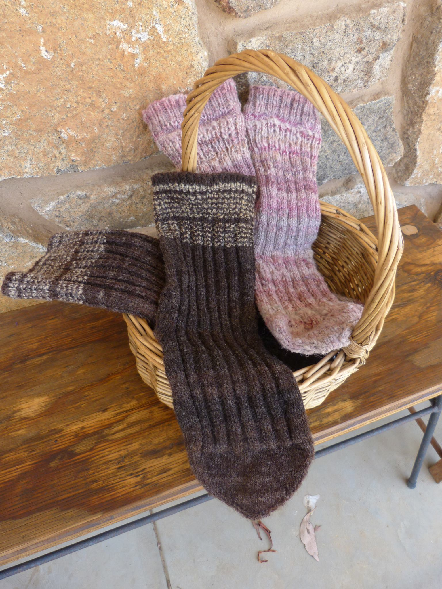 Beautiful Shropshire socks knitted by the shepherdess. Perfect fibre for springy sturdiness. Blended with other fibre to wearer's preference.