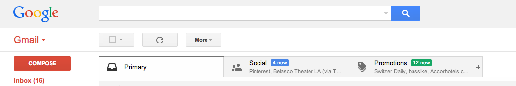 The Gmail tabbed browser view.