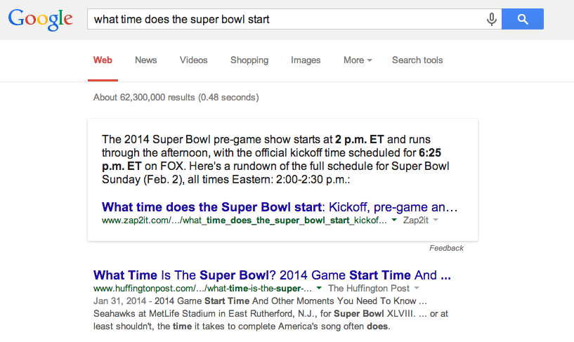 What time does the super bowl start Google search result.