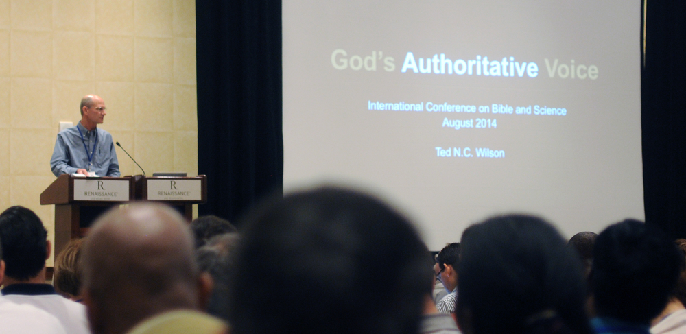 Adventist Church President Ted N. C. Wilson speaks on the stage of the Bible and science conference in Las Vegas, Nevada, on Friday, August 15. Photo: Blackmer