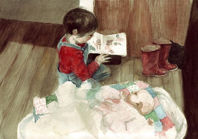 'Reading' from maybe 2008? For my brother @samuelfscott  #watercolor #watercolour #interior-painting #interior