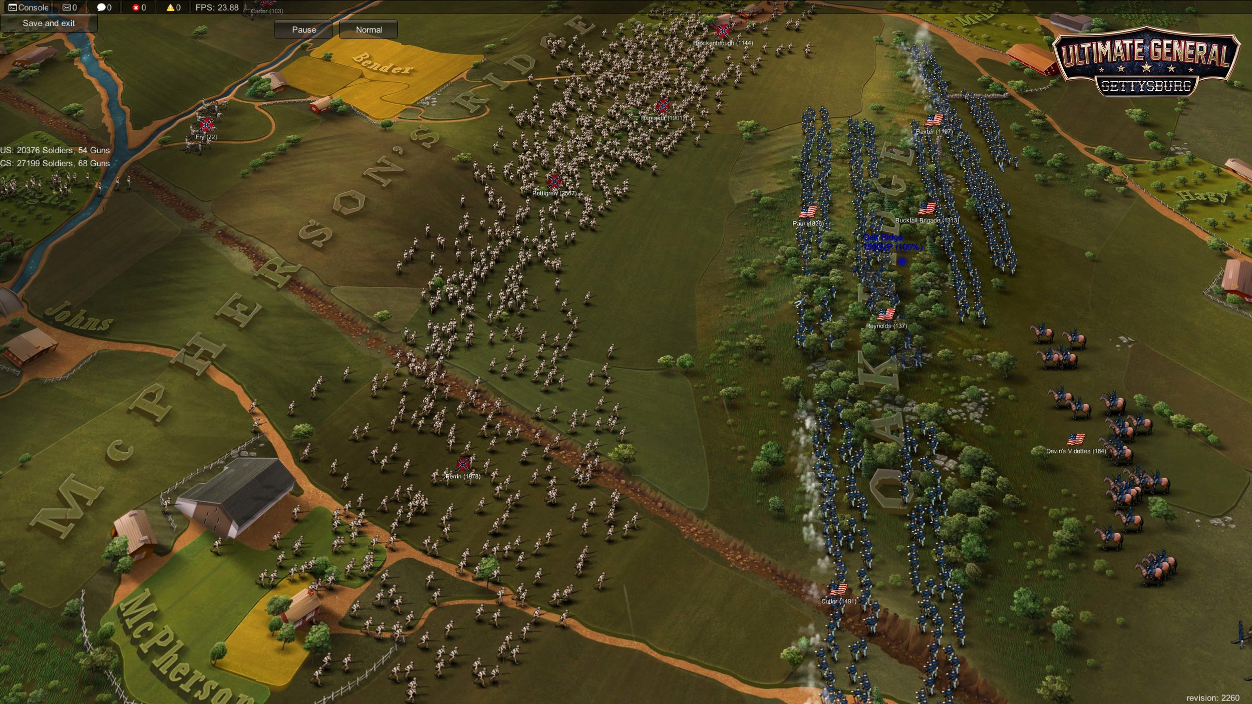 Confederates charge to take Oak Ridge.   Disclaimer:  Visuals not final. Picture taken from early Development build with basic UI