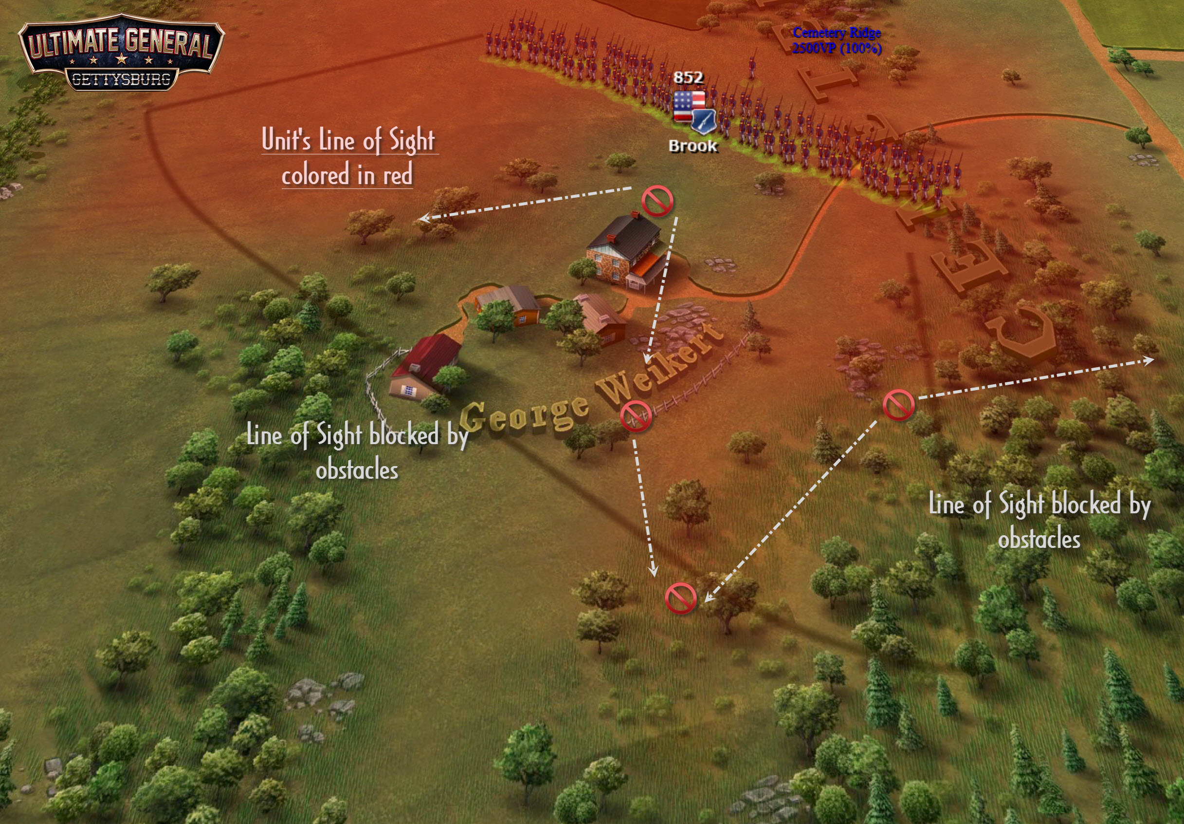 "Red area shows what the unit can see. You can enable this ""Individual LoS"" for your units any time you want, which is especially useful for your artillery to understand its actual effective range."