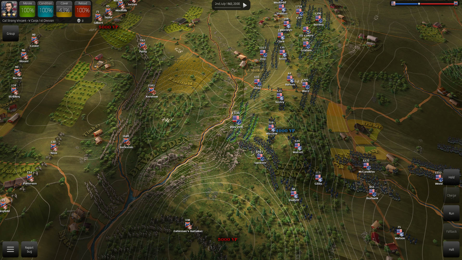 By pressing the M key you toggle on/off the height lines which help you understand which are the best locations to deploy your artillery.