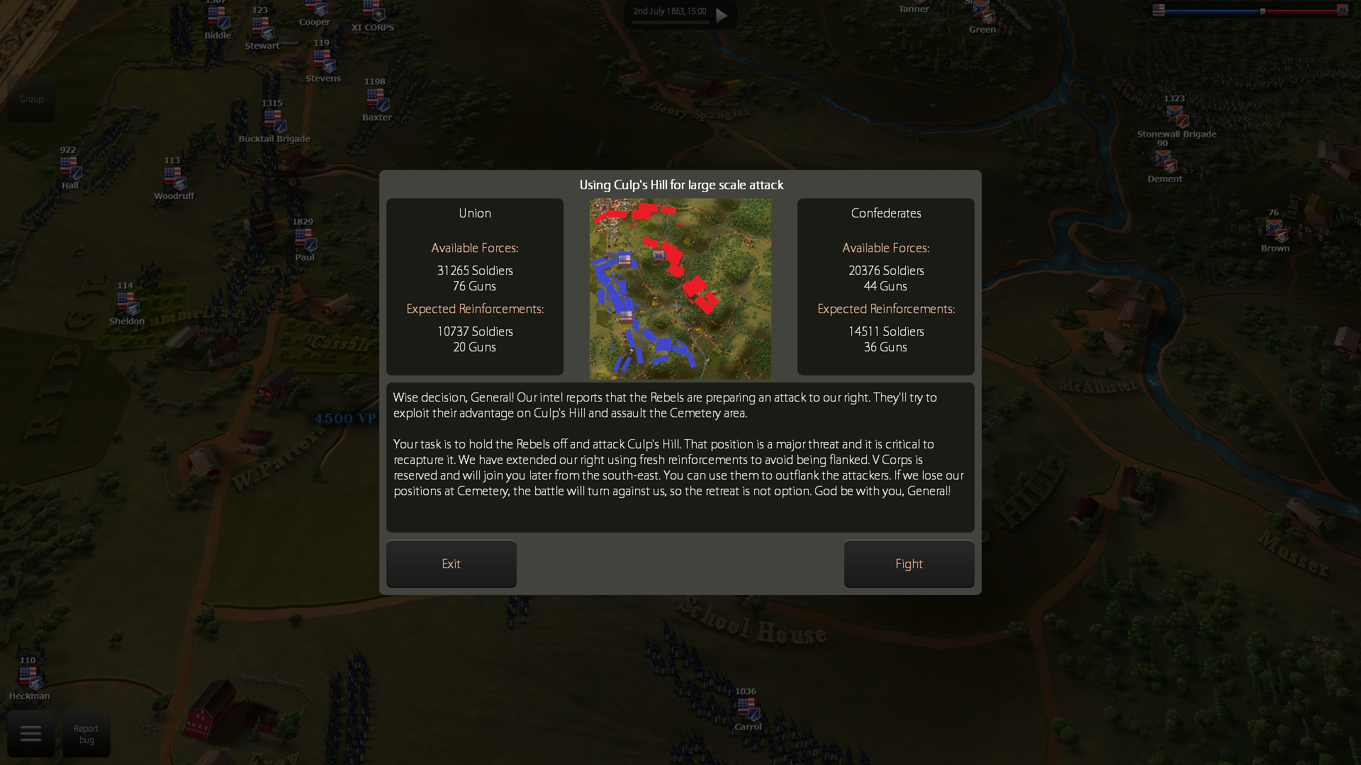 You can now see how the armies are deployed before each battle (Work in progress).