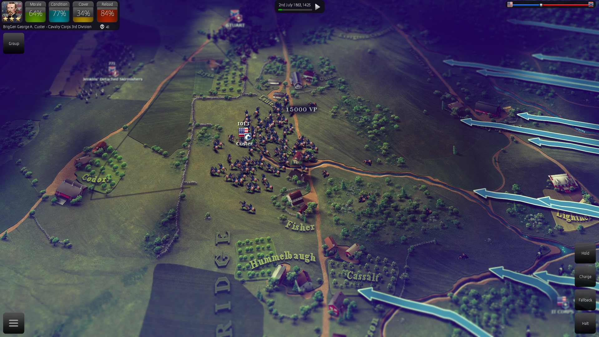 """Custer scouting the area ahead of the Union army in the new multiplayer battle """"Meeting at Cemetery ridge""""."""