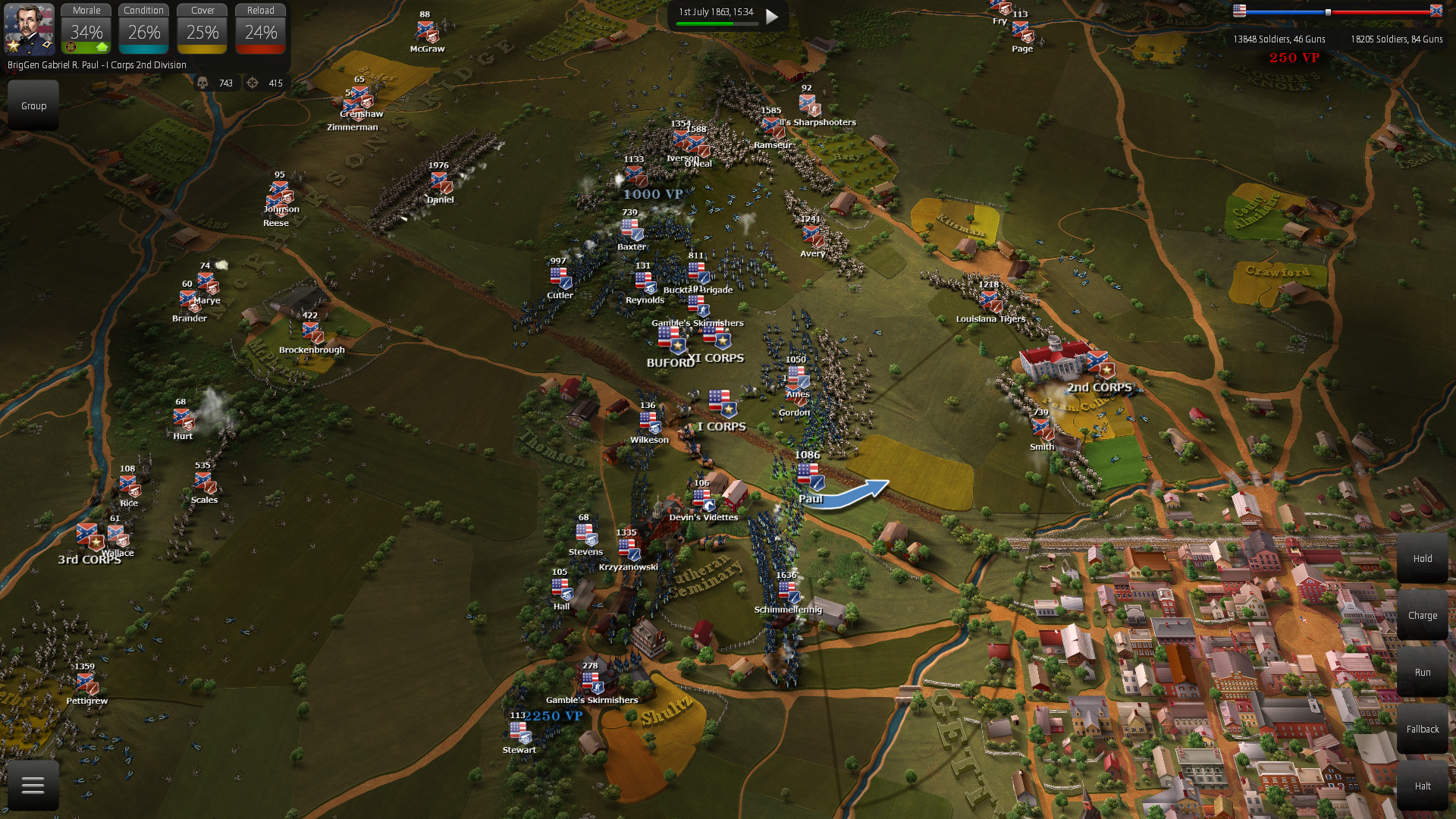 Responsive AI that presses on the attack with multiple charges at weak spots of your army.