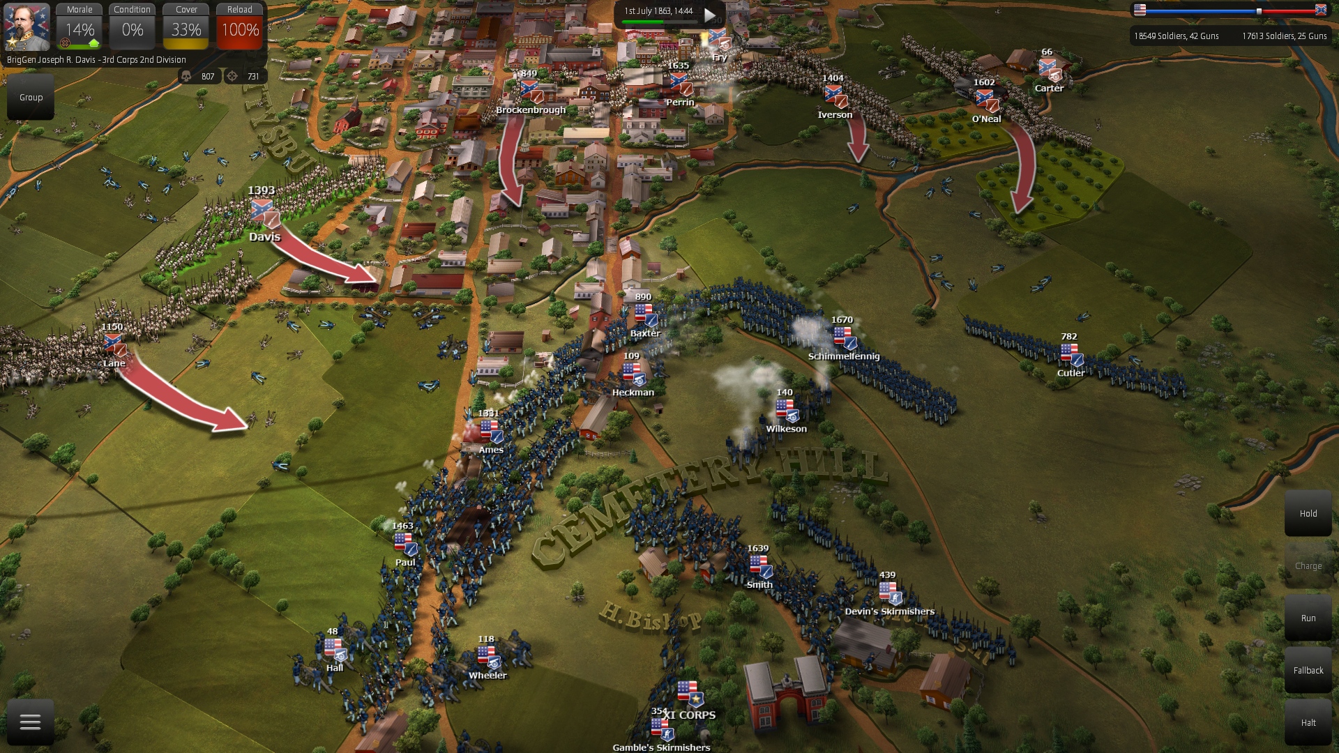 "Union Cunning AI making ""fish-hook formation"" to defend cemetery hill"