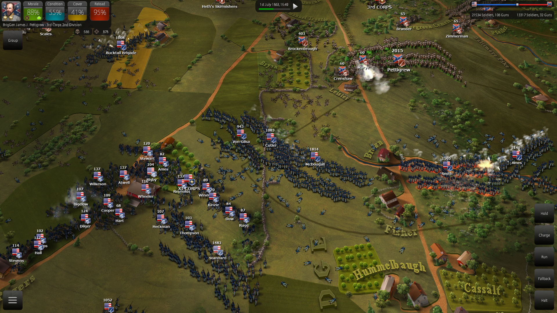 """Union Dynamic AI attacks Cemetery Hill and brings massive artillery support. The map is """"union on the offensive""""."""