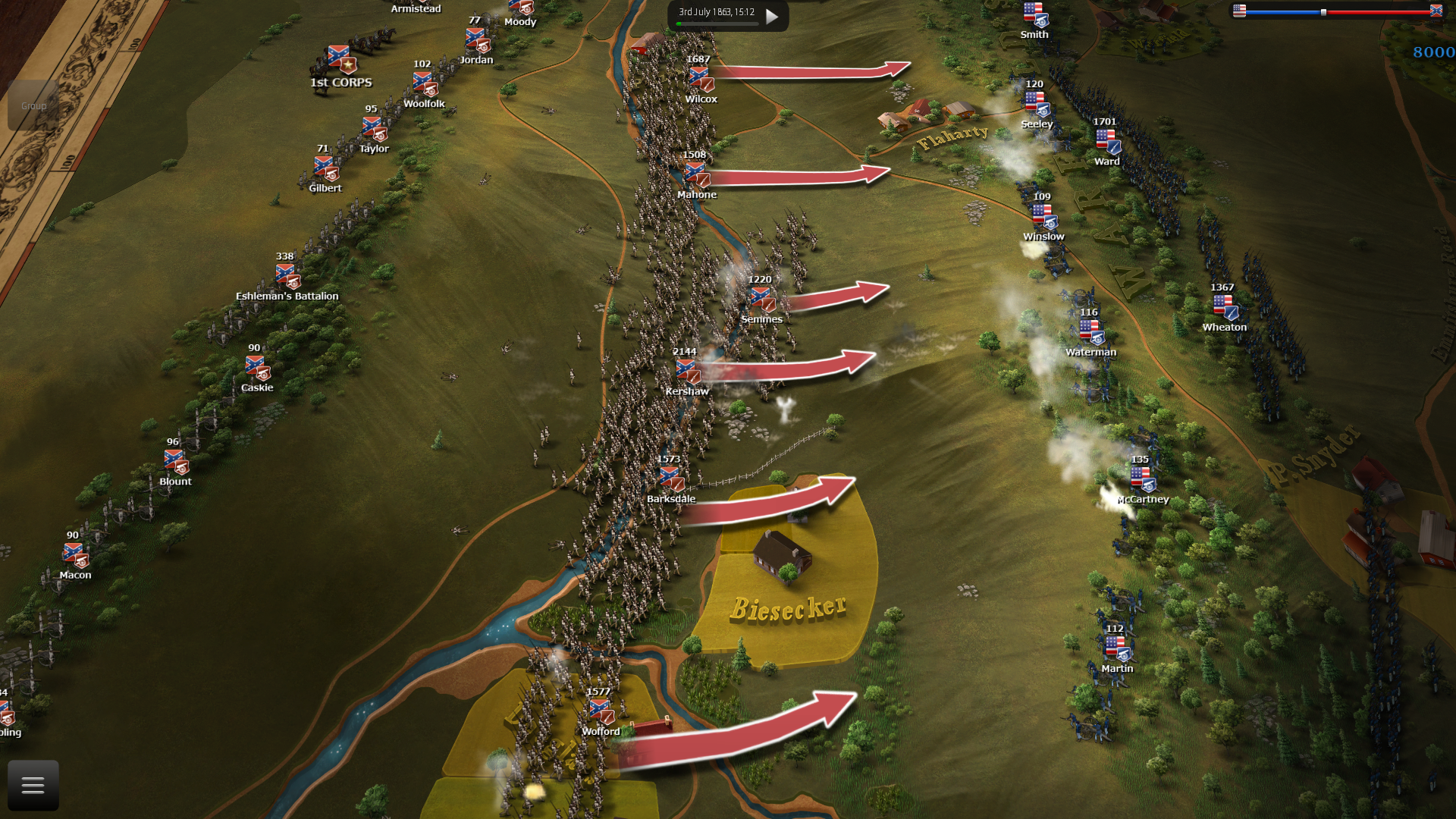 """In the new map """"Defensive line along Warfield Ridge"""" the Confederates must attack a heavily defended ridge."""