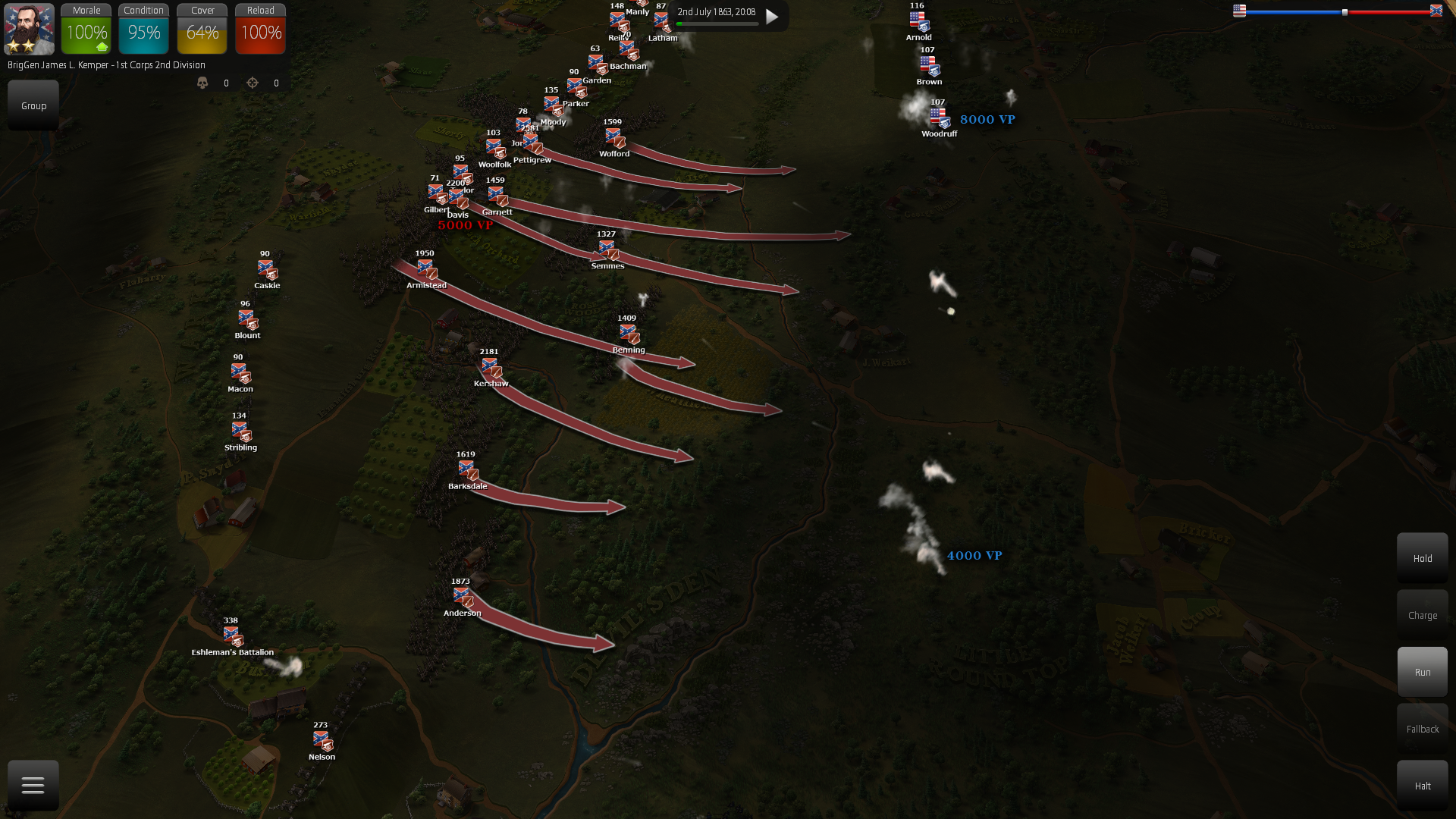 """The """"Night battle on the Round Tops"""" map has the two armies facing each other at devil's den area."""