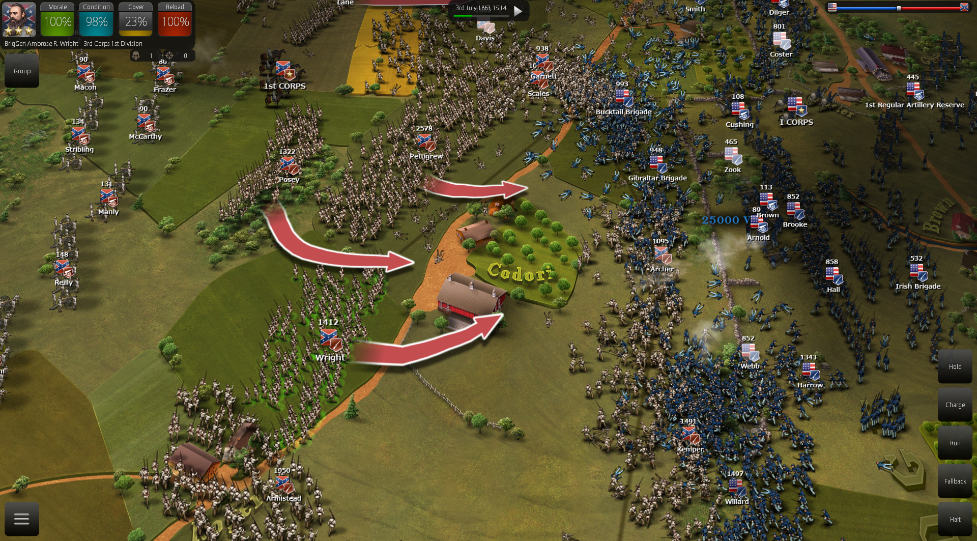 Melee looks now more chaotic and causes increased, more realistic damage. This gives to the CSA a proper impact when they charge but also Union can now defend more efficiently and have more chances for a successful counter-attack.