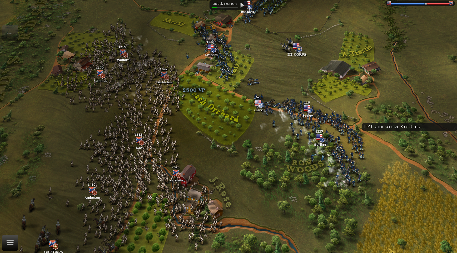 "confederate ""determined"" ai personality rushing to attack peach orchard with many strong brigades while THE UNION is vulnerable..."