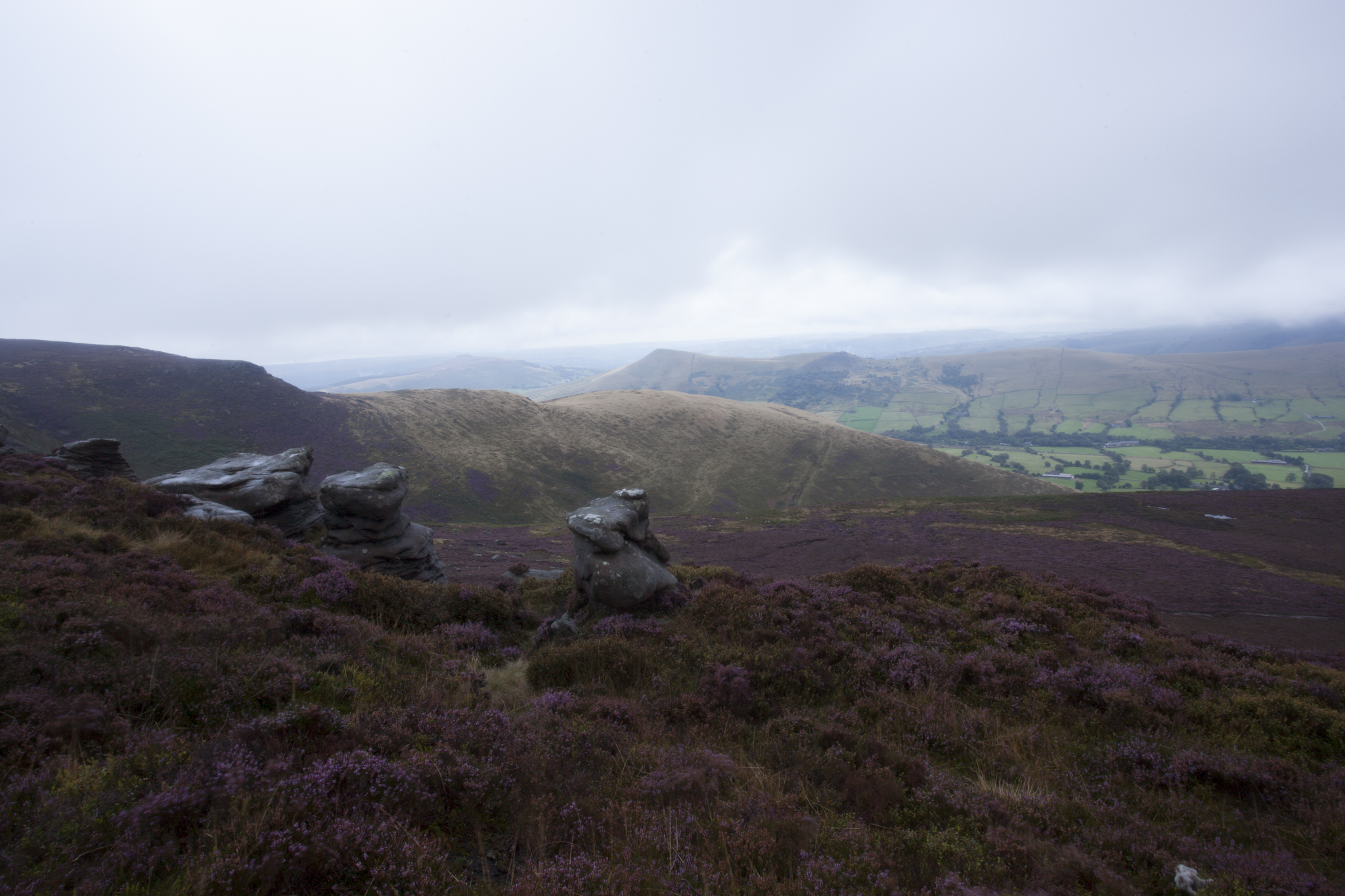 Finally the weather eased a little giving better conditions (marginally). So I was able to start shooting down towards the Edale valley with the rocks in the foreground. It's amazing how much difference a slight change in light can have to the colours.