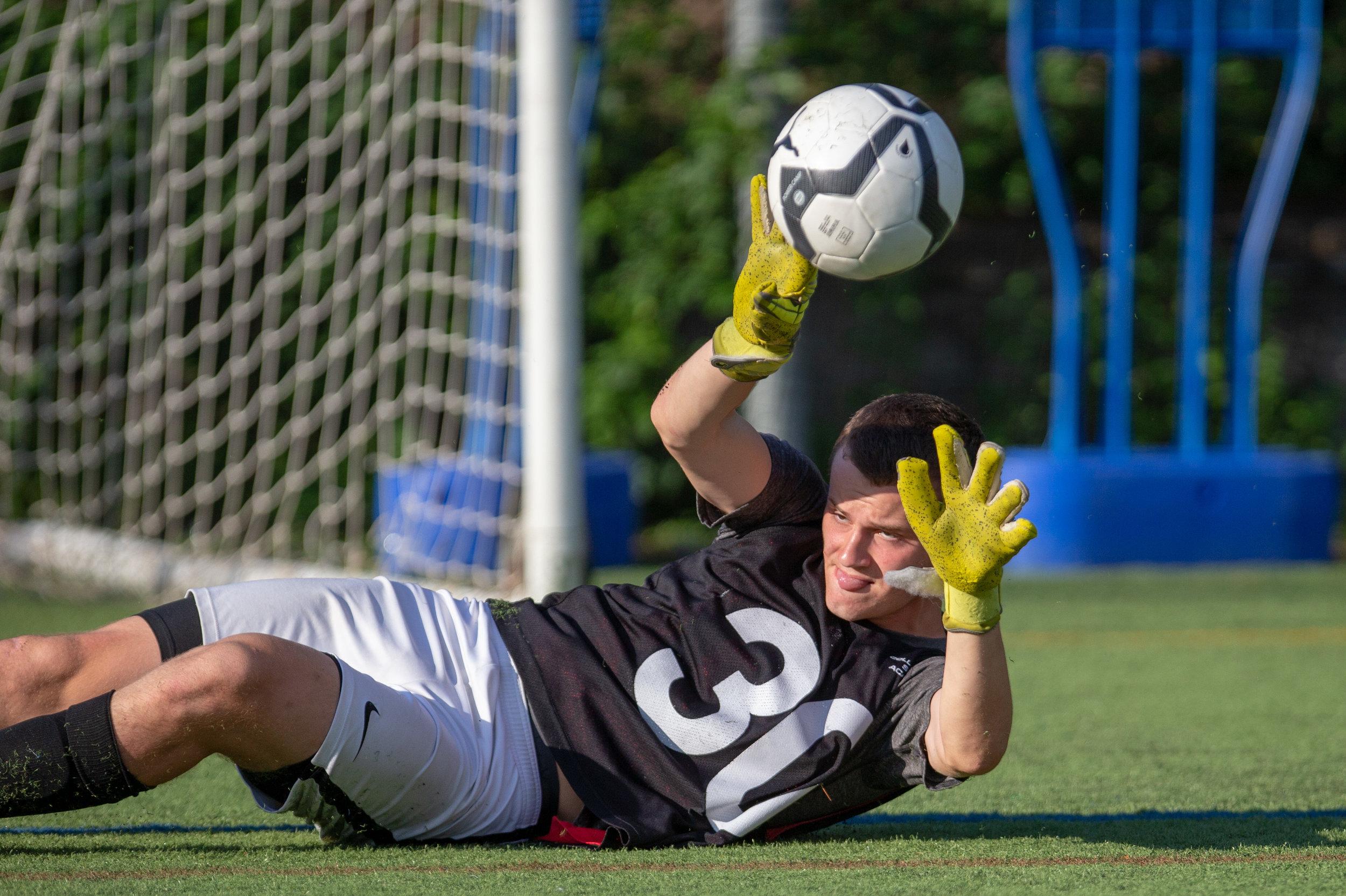Collegiate soccer goalkeeper save training july